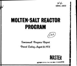 Primary view of object titled 'Molten-Salt Reactor Program semiannual progress report for period ending August 31, 1972'.
