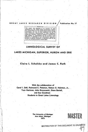 Primary view of object titled 'Limnological survey of Lakes Michigan, Superior, Huron, and Erie. Publication No. 17'.