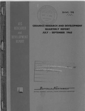 Primary view of object titled 'CERAMICS RESEARCH AND DEVELOPMENT QUARTERLY REPORT, JULY-SEPTEMBER 1965'.