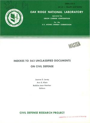 Primary view of object titled 'INDEXES TO 563 UNCLASSIFIED DOCUMENTS ON CIVIL DEFENSE.'.