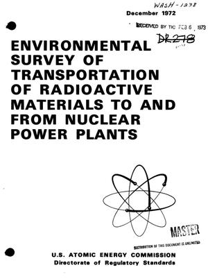 Primary view of object titled 'Environmental survey of transportation of radioactive materials to and from nuclear power plants.'.