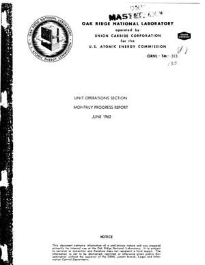 Primary view of object titled 'Chemical Technology Division. Unit Operations Section Monthly Progress Report, June 1962'.