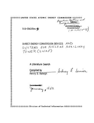 Primary view of object titled 'Direct Energy Conversion Devices and Systems for Nuclear Auxiliary Power (SNAP). A Literature Search'.