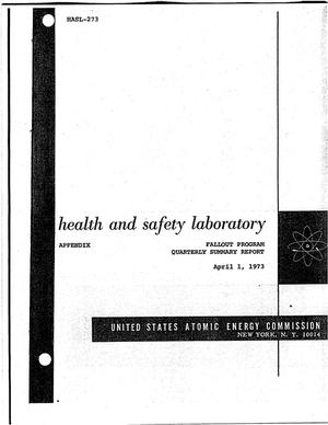 Primary view of object titled 'Appendix to Health and Safety Laboratory Fallout Program. Quaterly summary report, December 1, 1972--March 1, 1973.'.
