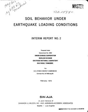 Primary view of object titled 'SOIL BEHAVIOR UNDER EARTHQUAKE LOADING CONDITIONS. Interim Report No. 2.'.