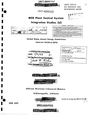 Primary view of object titled 'MCR PLANT CONTROL SYSTEM INTEGRATION STUDIES.'.