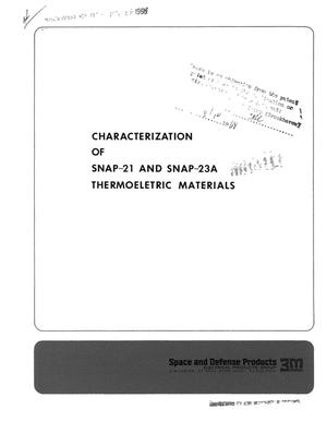 Primary view of object titled 'CHARACTERIZATION OF SNAP-21 AND SNAP-23A THERMOELECTRIC MATERIALS.'.