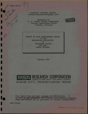 Primary view of object titled 'EFFECT OF HIGH-TEMPERATURE SODIUM ON THE MECHANICAL PROPERTIES OF CANDIDATE ALLOYS FOR THE LMFBR PROGRAM. Quarterly Progress Report, October--December 1967.'.