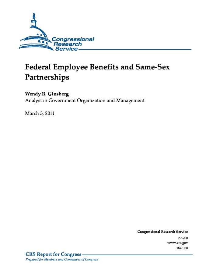 Federal employee same sex benefits