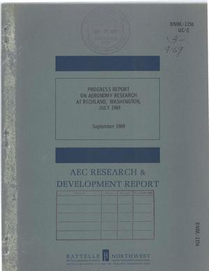 Primary view of object titled 'PROGRESS REPORT ON AERONOMY RESEARCH AT RICHLAND, WASHINGTON, JULY 1969.'.