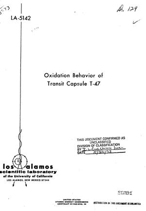Primary view of object titled 'Oxidation behavior of Transit Capsule T-47'.