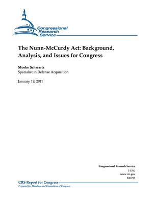 The Nunn-McCurdy Act: Background, Analysis, and Issues for Congress