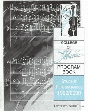 Primary view of object titled 'College of Music program book 1999-2000 Student Performances'.