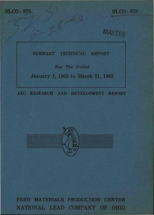 Primary view of object titled 'Summary Technical Report for the Period January 1, 1963 to March 31, 1963'.