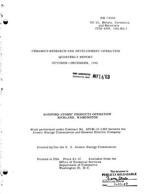 Primary view of object titled 'Ceramics Research and Development Operation Quarterly Report, October- December 1962'.