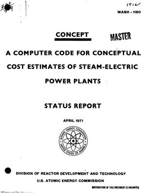 Primary view of object titled 'Concept: A Computer Code for Conceptual Cost Estimates of Steam-Electric Power Plants. Status Report.'.