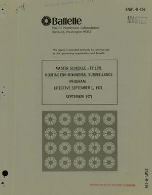 Primary view of object titled 'ROUTINE ENVIRONMENTAL SURVEILLANCE PROGRAM: MASTER SCHEDULE, FY 1971. Effective September 1, 1971.'.