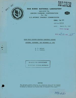 Primary view of object titled 'HIGH FLUX ISOTOPE REACTOR QUARTERLY REPORT, OCTOBER--DECEMBER OF 1966.'.