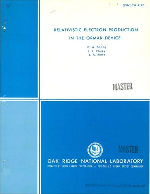Primary view of object titled 'Relativistic electron production in the ORMAK device'.