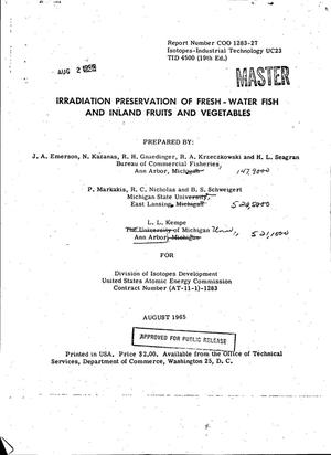 Primary view of object titled 'Irradiation Preservation of Fresh-Water Fish and Inland Fruits and Vegetables'.