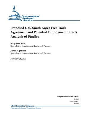 Proposed U.S.-South Korea Free Trade Agreement and Potential Employment Effects: Analysis of Studies