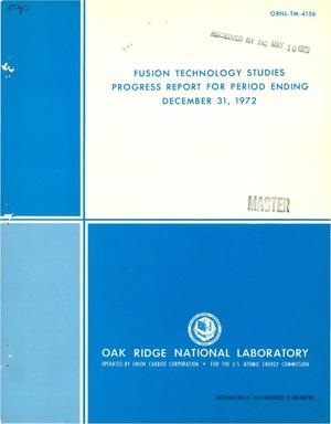 Primary view of object titled 'Fusion technology studies progress report for period ending December 31, 1972'.