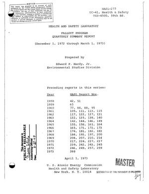 Primary view of object titled 'Fallout program. Quarterly summary report, December 1, 1972--March 1, 1973.'.