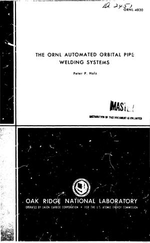 Primary view of object titled 'ORNL automated orbital pipe welding systems.'.
