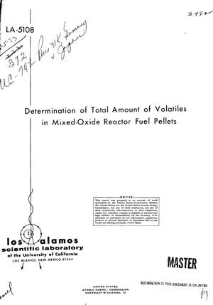 Primary view of object titled 'Determination of total amount of volatiles in mixed-oxide reactor fuel pellets.'.
