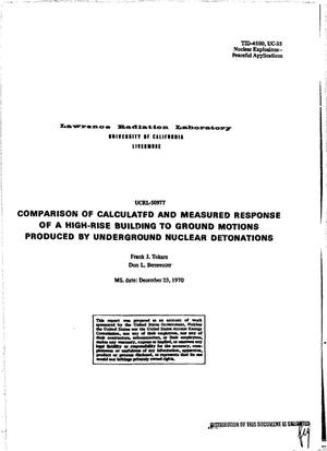 Primary view of object titled 'Comparison of Calculated and Measured Response of a High-Rise Building to Ground Motions Produced by Underground Nuclear Detonations.'.