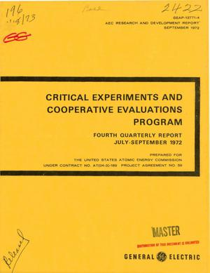 Primary view of object titled 'Critical Experiments and Cooperative Evaluations Program. Fourth Quarterly Report, July--September 1972.'.