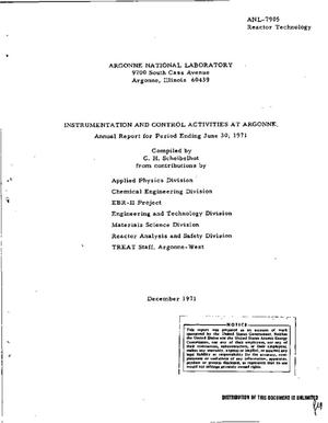 Primary view of object titled 'Instrumentation and Control Activities at Argonne. Annual Report for Period Ending June 30, 1971.'.