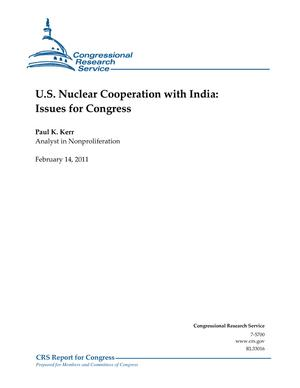 U.S. Nuclear Cooperation with India: Issues for Congress