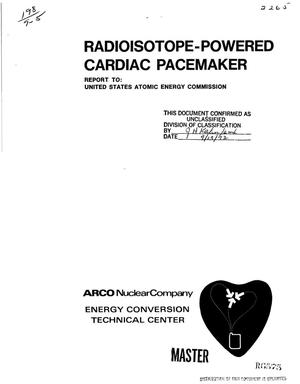 Primary view of object titled 'RADIOISOTOPE POWERED CARDIAC PACEMAKER PROGRAM. Phase II. Quarterly Progress Report, May 1, 1972--July 31, 1972.'.