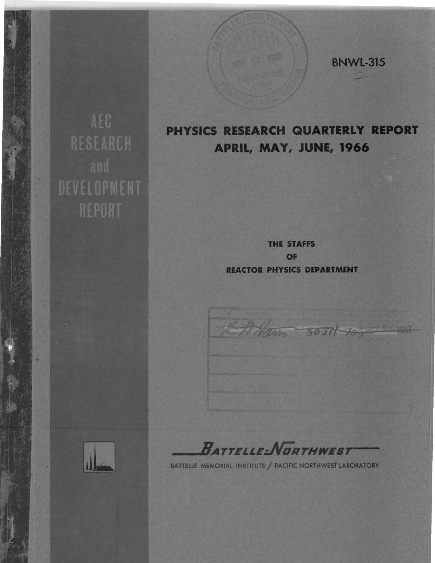 PHYSICS RESEARCH QUARTERLY REPORT, APRIL, MAY, JUNE 1966.                                                                                                      [Sequence #]: 1 of 20