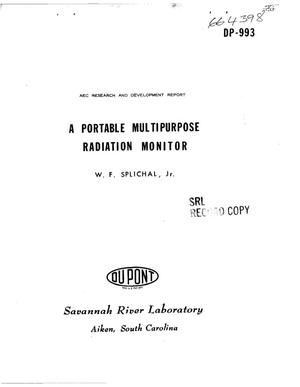 Primary view of object titled 'PORTABLE MULTIPURPOSE RADIATION MONITOR'.