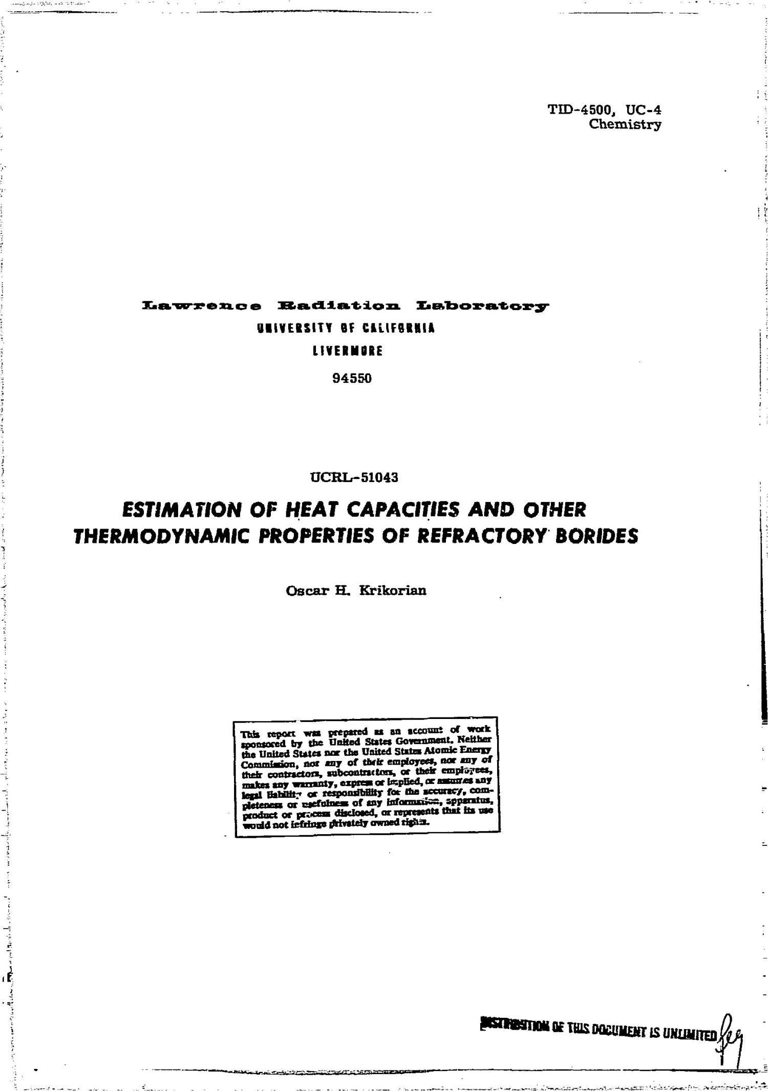 Estimation of Heat Capacities and Other Thermodynamic Properties of Refractory Borides.                                                                                                      [Sequence #]: 1 of 41