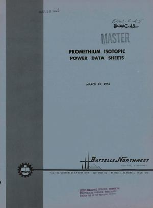 Primary view of object titled 'PROMETHIUM ISOTOPIC POWER DATA SHEETS'.