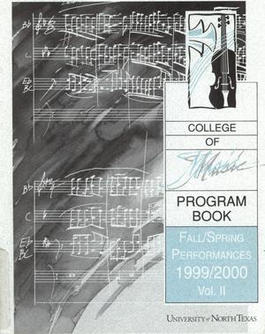 College of Music program book 1999-2000 Fall/Spring Performances Vol. 2