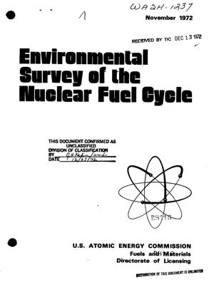 Primary view of object titled 'ENVIRONMENTAL SURVEY OF THE NUCLEAR FUEL CYCLE.'.