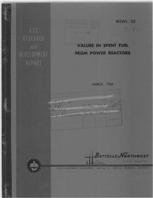 Primary view of Values in Spent Fuel From Power Reactors