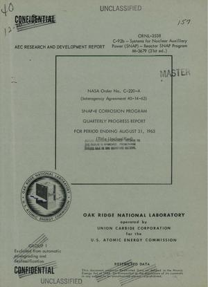 Primary view of object titled 'SNAP-8 CORROSION PROGRAM. Quarterly Progress Report for Period Ending August 31, 1963'.
