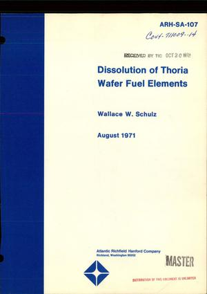 Primary view of object titled 'DISSOLUTION OF THORIA WAFER FUEL ELEMENTS.'.