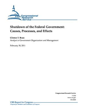 Shutdown of the Federal Government: Causes, Processes, and Effects