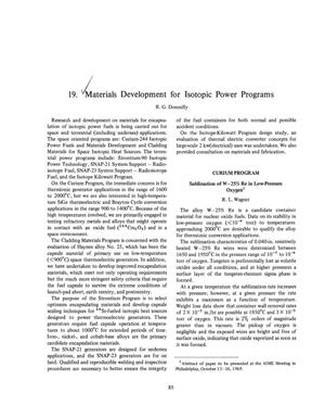 Primary view of object titled 'MATERIALS DEVELOPMENT FOR ISOTOPIC POWER PROGRAMS.'.