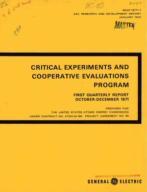 Primary view of object titled 'Critical Experiments and Cooperative Evaluations Program. First Quarterly Report, October--December 1971.'.