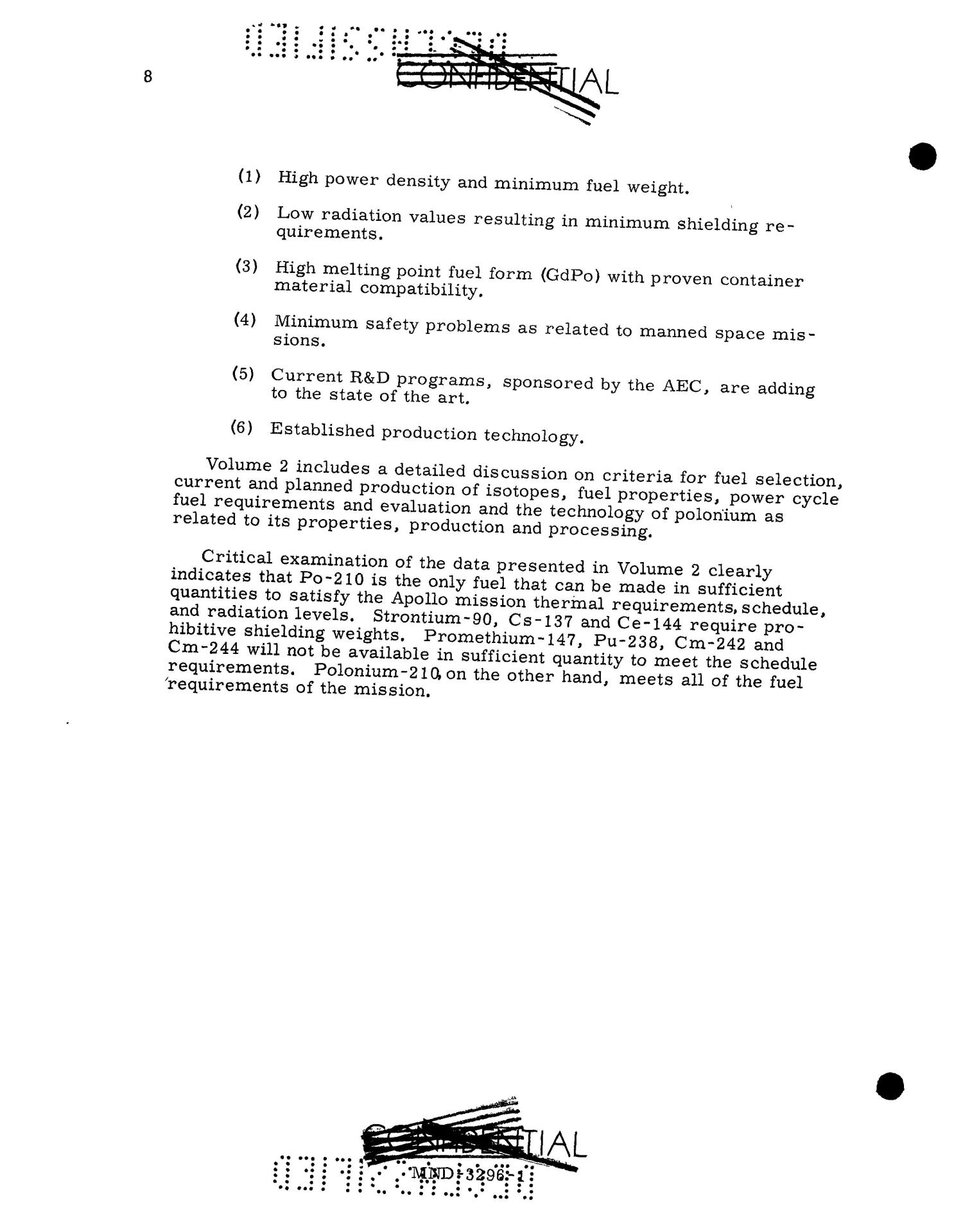 Feasibility of Isotopic Power for Manned Lunar Missions. Volume 1. Summary.                                                                                                      [Sequence #]: 19 of 61