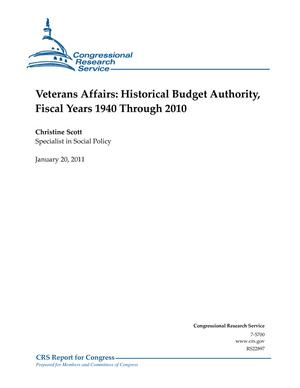 Veterans Affairs: Historical Budget Authority, Fiscal Years 1940 Through 2010