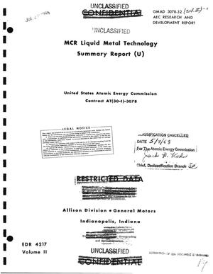 Primary view of object titled 'MCR LIQUID METAL TECHNOLOGY SUMMARY REPORT.'.