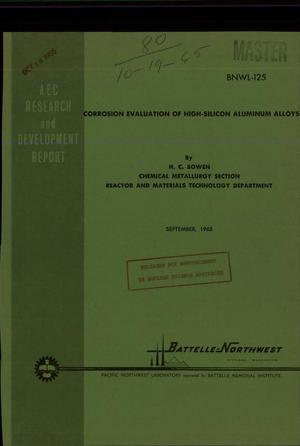 Primary view of object titled 'CORROSION EVALUATION OF HIGH-SILICON ALUMINUM ALLOYS'.